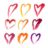 Handdrawn Lipstick Hearts Royalty Free Stock Photo