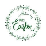 Handdrawn mörkt - kort för ram för grön blom- blommacirkel runt med det söta lyckliga easter tecknet med glädjeramen, kanin gr?n  vektor illustrationer
