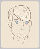 Handdrawn man face with blue eyes and blond hair. Stock Photography