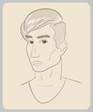 Handdrawn man face with brown eyes. close-up Royalty Free Stock Photo