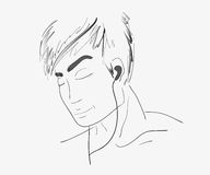 Handdrawn man face listening to music Royalty Free Stock Photos