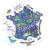Handdrawn map of France. Map of France - cartoon map Royalty Free Stock Images