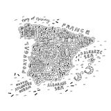 Handdrawn map of Spain. For coloring antistress book - outline of all main attractions Royalty Free Stock Images
