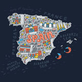 Handdrawn map of Spain Royalty Free Stock Photos