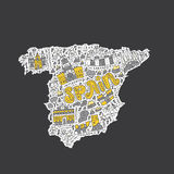 Handdrawn map of Spain Stock Photography