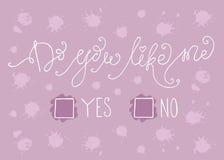 Handdrawn med färgpulvercitationstecken: Gör dig gillar mig - ja eller inget - typografiaffischen som märker Royaltyfri Foto