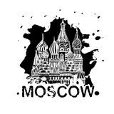 Handdrawn Moscow Image. Moscow image with Saint Basil`s Cathedral. Vector hand drawn typography illustration. Russian decorative background in black and white Royalty Free Stock Image