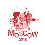 Handdrawn Moscow Image. Moscow image with Saint Basil s Cathedral. Vector hand drawn typography illustration. Russian decorative background in black and white Stock Image
