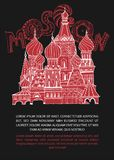 Handdrawn Moscow Image. Moscow poster with Saint Basil s Cathedral and unique lettering. Vector hand drawn typography illustration. Decorative Russian background Stock Photo