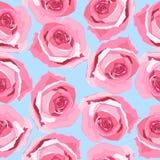 Handdrawn Musterhintergrund Rose mit Blumen stockfotos