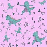 Handdrawn nahtloses Muster mit Dinosaurier in Yoga asana auf Stifthintergrund lizenzfreie abbildung