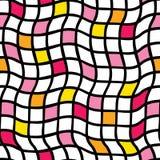 Handdrawn nieregularna siatka wektor bezszwowy wzoru Czarna siatka z kolorem żółtym, pomarańcze i menchia barwiącymi kwadratami,  ilustracja wektor