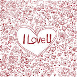 Handdrawn outline heart and love Stock Photography
