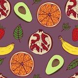 Handdrawn owoc ustalony bezszwowy wzór na fiołkowym tle ilustracji
