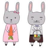 Handdrawn påskclipart ställde in den kaninpojken och flickan stock illustrationer