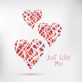 Handdrawn painted hearts, vector card  Royalty Free Stock Images