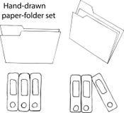 Handdrawn pappersuppsättning Arkivfoto