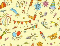 Handdrawn Party & Celebration doodle pattern Royalty Free Stock Image