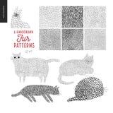 Handdrawn patronen met katten Royalty-vrije Stock Afbeelding