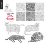 Handdrawn patterns with cats Royalty Free Stock Image