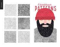 Handdrawn patterns set Stock Photo