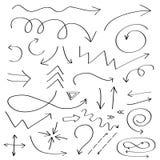 Handdrawn pictogram van krabbelpijlen De hand getrokken zwarte reeks van de pijlschets De inzameling van het tekensymbool Genomen Stock Fotografie
