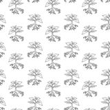 Handdrawn plant in the ground pattern doodle icon. Hand drawn bl vector illustration