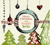 Handdrawn Retro- Weihnachtshintergrund Stockfotos