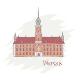 Handdrawn Royal Castle in Warsaw Poland Stock Photo