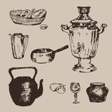 Handdrawn russian dishes Royalty Free Stock Photo