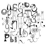 Handdrawn russian doodle alphabet. Random letters. Stock Photos