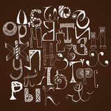 Handdrawn russian doodle alphabet. Random letters. Stock Photography