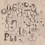 Handdrawn russian doodle alphabet. Random letters. Stock Photo