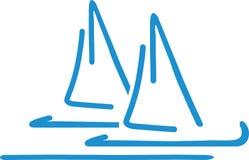 Handdrawn Sailing boats. Sea vector vector illustration