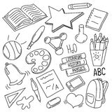 Handdrawn school doodles. Outlined  illustration on white background Stock Images