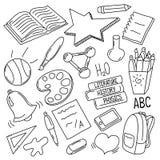 Handdrawn school doodles. Outlined  illustration on white background Stock Images