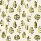 Handdrawn seamless doodle pattern of trees Royalty Free Stock Photo