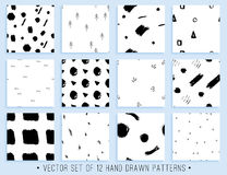 Handdrawn seamless pattern collection Royalty Free Stock Image