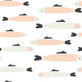 Handdrawn seamless pattern of doodle fish sardines stock illustration