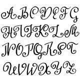 Handdrawn seque la fuente del cepillo Letras modernas del cepillo Alfabeto del estilo del Grunge Ilustración del vector Fotos de archivo