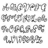 Handdrawn seque la fuente del cepillo Letras modernas del cepillo Alfabeto del estilo del Grunge Ilustración del vector Fotos de archivo libres de regalías