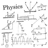 Handdrawn Set. Collection of element in physics Royalty Free Stock Images
