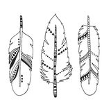 Handdrawn set of feathers isolated on white Stock Image