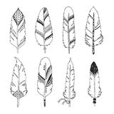 Handdrawn set of feathers Royalty Free Stock Photo
