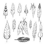 Handdrawn set of feathers Stock Photography