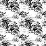 Handdrawn Siebdruckdruck der nahtlosen Musterwellenbürstentintenskizze Stockfotografie