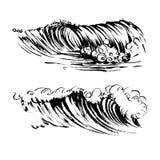 Handdrawn Siebdruckdruck der Wellenbürstentintenskizze Lizenzfreie Stockfotografie