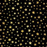 Handdrawn stars gold foil vector background. Seamless pattern for Christmas and celebrations. Hand drawn golden stars on black. royalty free illustration