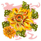 Handdrawn Style Sunflower Stock Photography