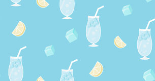 Handdrawn summer soda drink with ice cubes and lemon Stock Photos